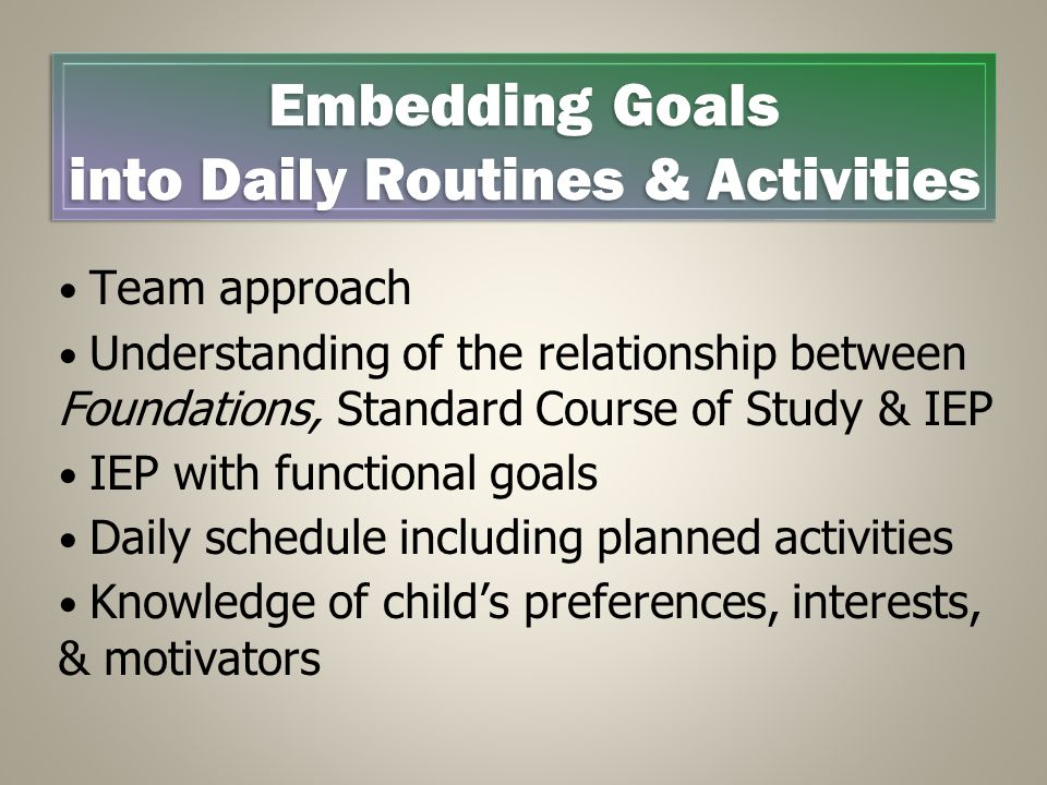Team approach Understanding of the relationship between Foundations, Standard Course of Study & IEP IEP with functional goals Daily schedule including