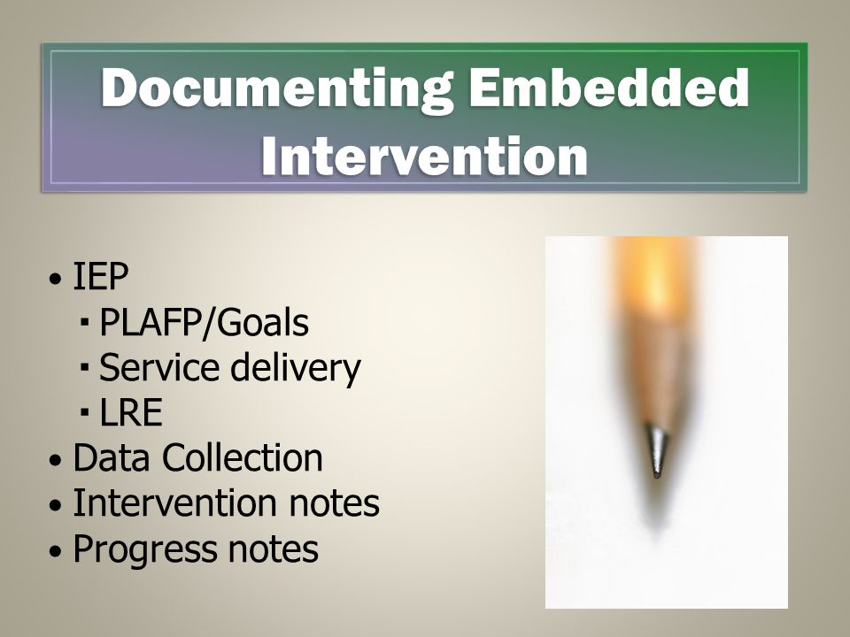 IEP  PLAFP/Goals  Service delivery  LRE Data Collection Intervention notes Progress notes