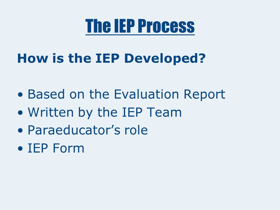 The IEP Process IEP Development: The Special Education Program The IEP: Outlines goals and supports needed for the student to live, work, and play in