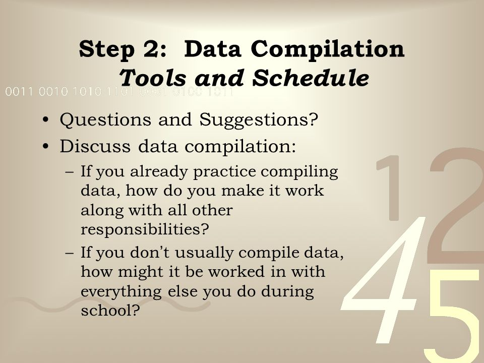 Step 2: Data Compilation Tools and Schedule Questions and Suggestions.