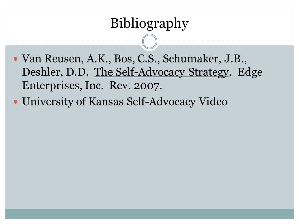 Bibliography Van Reusen, A.K., Bos, C.S., Schumaker, J.B., Deshler, D.D.