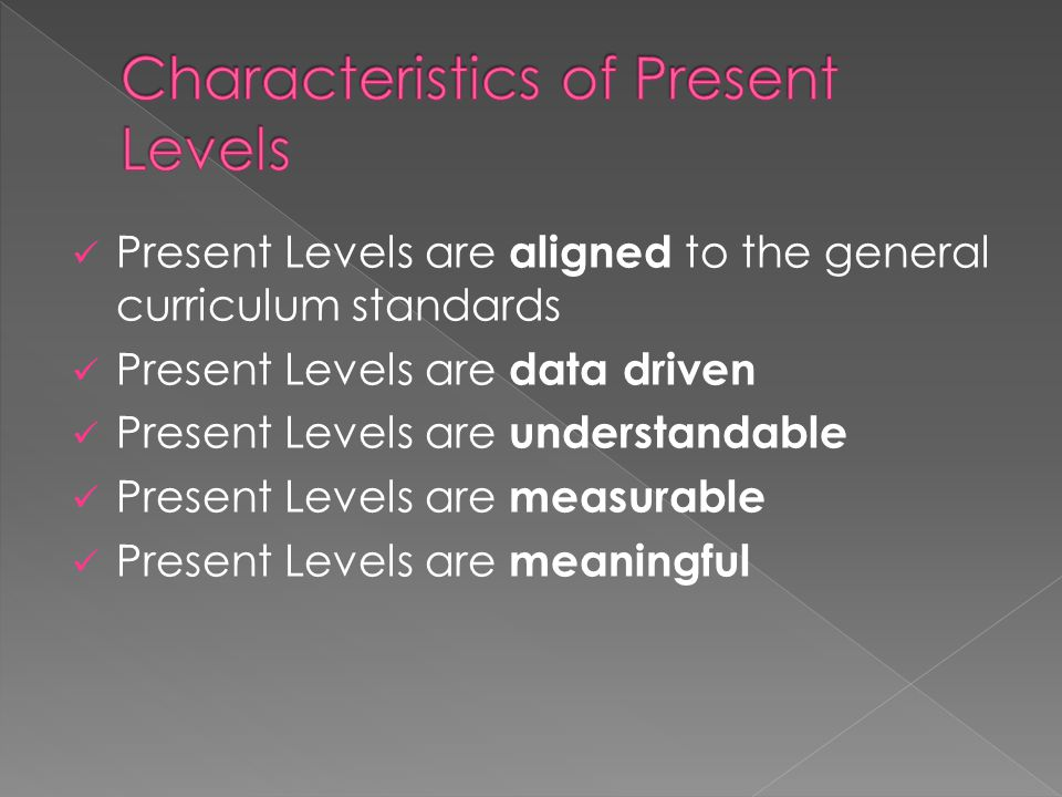 Present Levels are aligned to the general curriculum standards Present Levels are data driven Present Levels are understandable Present Levels are mea