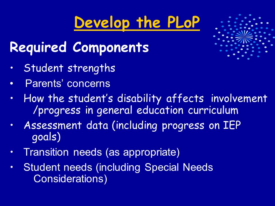 Develop the PLoP Required Components Student strengths Parents' concerns How the student's disability affects involvement /progress in general education curriculum Assessment data (including progress on IEP goals) Transition needs (as appropriate) Student needs (including Special Needs Considerations)