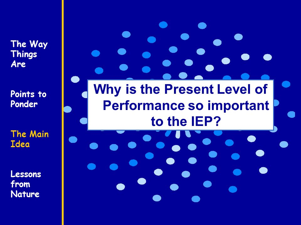 The Way Things Are Points to Ponder The Main Idea Lessons from Nature Why is the Present Level of Performance so important to the IEP