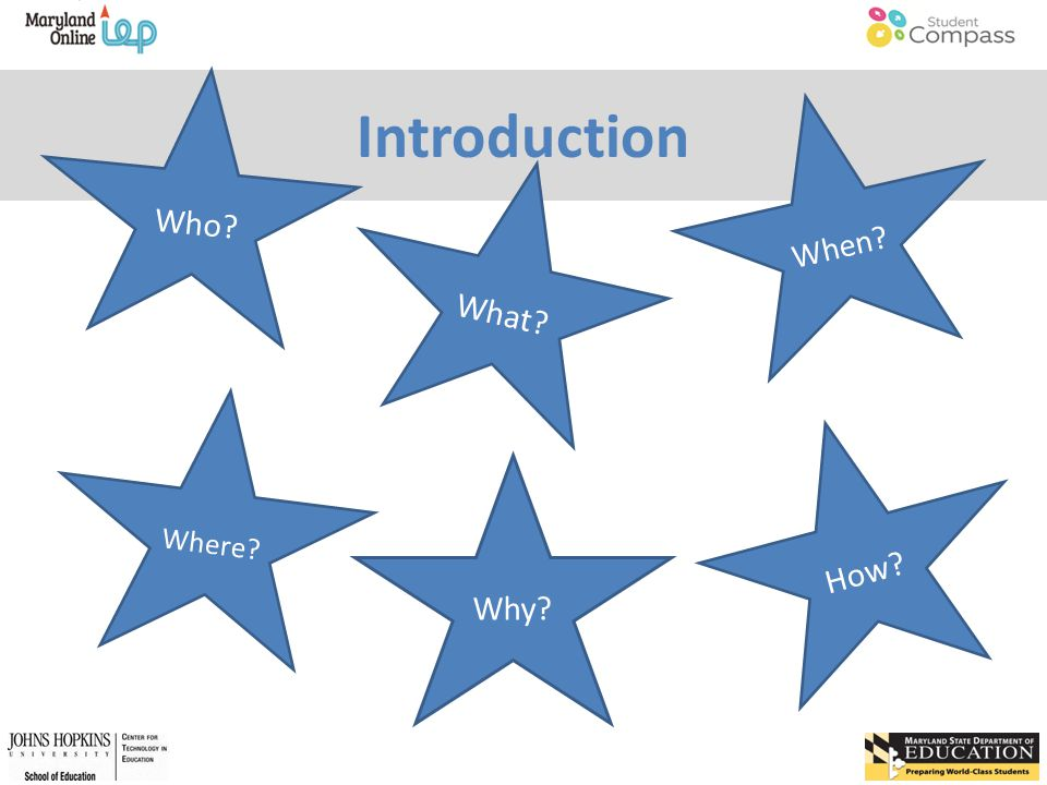 Introduction What When Why How Who Where