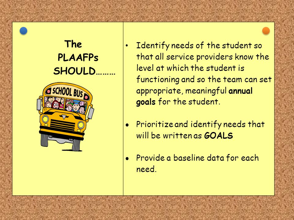 The PLAAFPs SHOULD……… Identify needs of the student so that all service providers know the level at which the student is functioning and so the team c