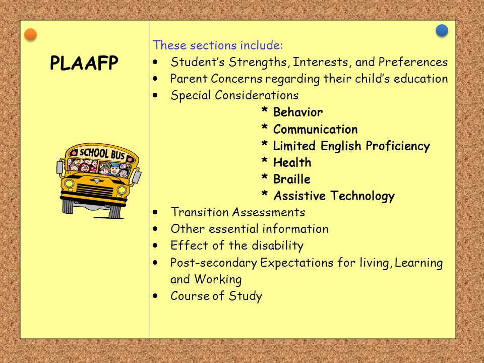 PLAAFP These sections include:  Student's Strengths, Interests, and Preferences  Parent Concerns regarding their child's education  Special Conside