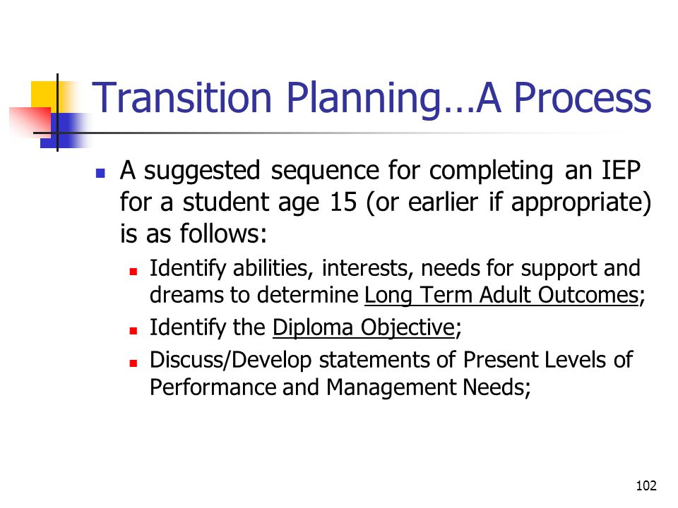 102 Transition Planning…A Process A suggested sequence for completing an IEP for a student age 15 (or earlier if appropriate) is as follows: Identify abilities, interests, needs for support and dreams to determine Long Term Adult Outcomes; Identify the Diploma Objective; Discuss/Develop statements of Present Levels of Performance and Management Needs;