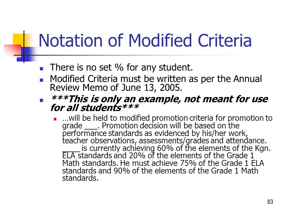 83 Notation of Modified Criteria There is no set % for any student.