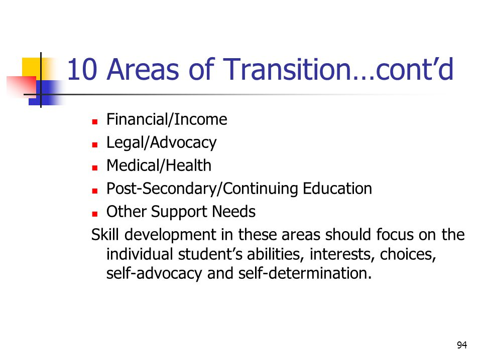 94 10 Areas of Transition…cont'd Financial/Income Legal/Advocacy Medical/Health Post-Secondary/Continuing Education Other Support Needs Skill developm