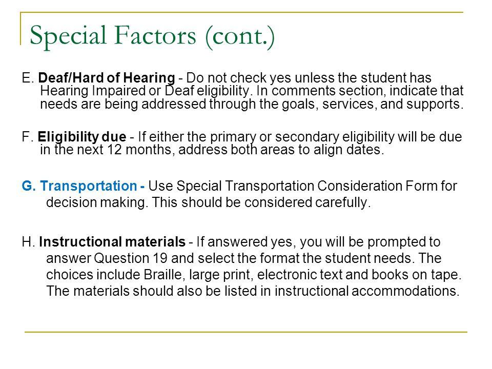 Special Factors Questions A.