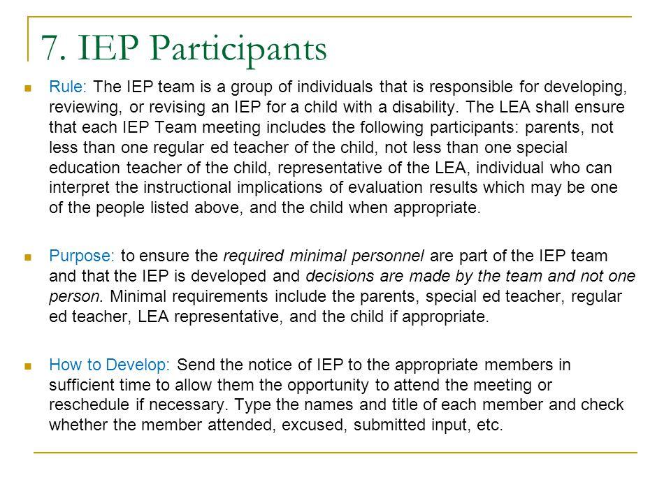 Parent Participation Parent must receive a copy of:  IEP  Any Eligibility report  Evaluation  Parent rights – see next bullet Procedural safeguard
