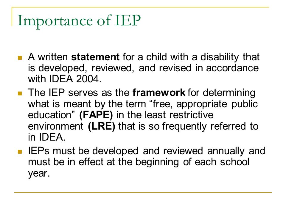 What are special education services? 1. Specially designed instruction 2. Instruction that can take place: 1. In class, home, hospitals and institutio