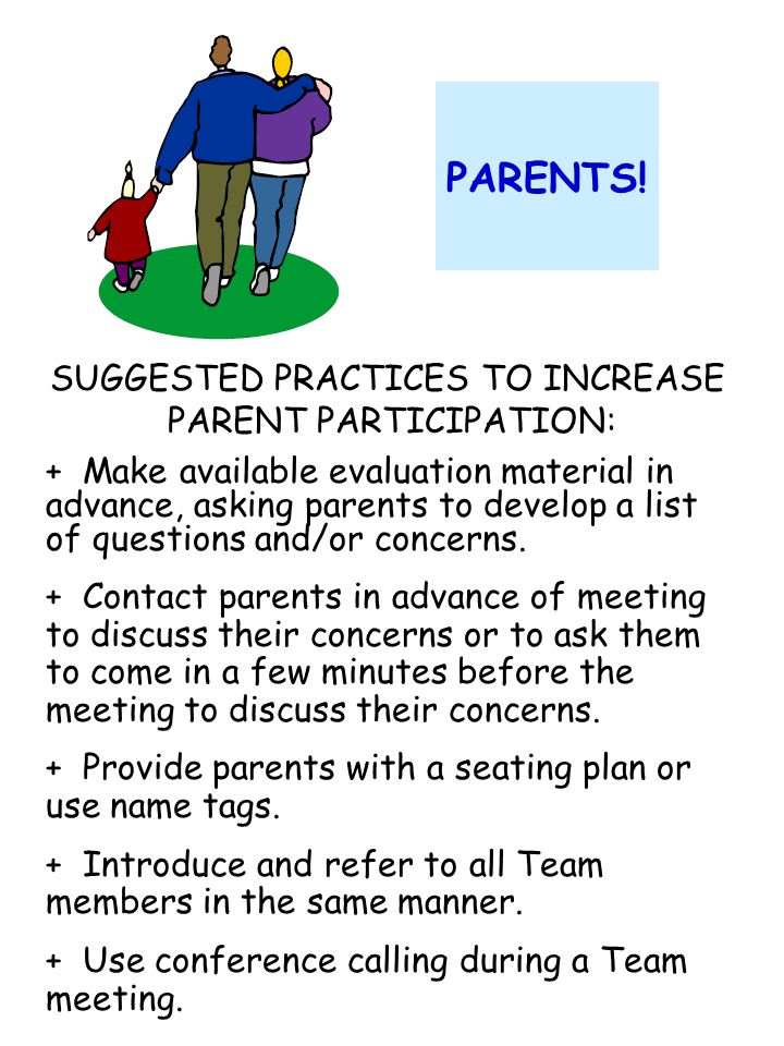 EXAMPLES OF: Parents and/or Student Concerns IEP 1 Example 1: a.