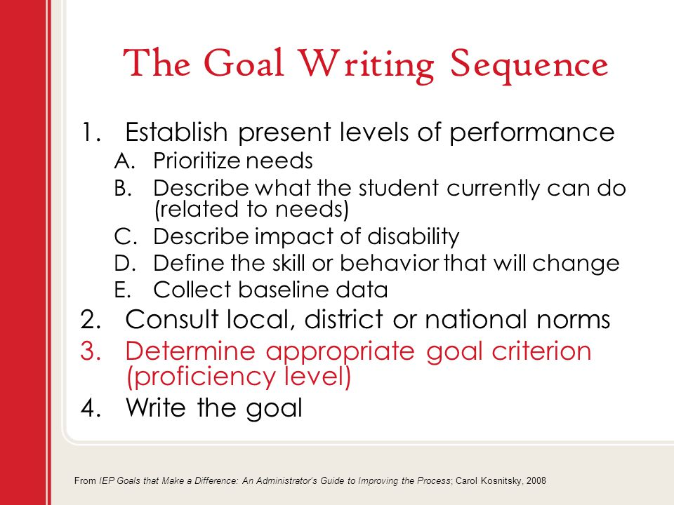 The Goal Writing Sequence 1.Establish present levels of performance A.Prioritize needs B.Describe what the student currently can do (related to needs) C.Describe impact of disability D.Define the skill or behavior that will change E.Collect baseline data 2.Consult local, district or national norms 3.Determine appropriate goal criterion (proficiency level) 4.Write the goal From IEP Goals that Make a Difference: An Administrator's Guide to Improving the Process; Carol Kosnitsky, 2008