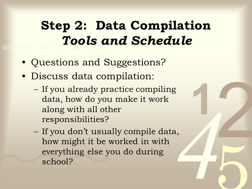Step 2: Data Compilation Tools and Schedule Questions and Suggestions? Discuss data compilation: –If you already practice compiling data, how do you m