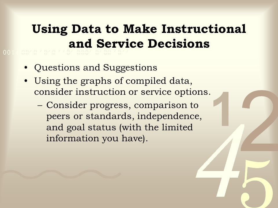 Questions and Suggestions Using the graphs of compiled data, consider instruction or service options. –Consider progress, comparison to peers or stand