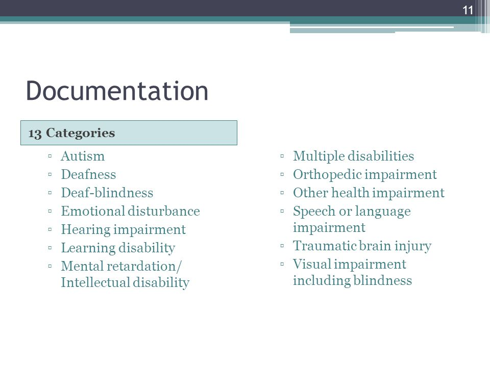 Documentation 13 Categories ▫Autism ▫Deafness ▫Deaf-blindness ▫Emotional disturbance ▫Hearing impairment ▫Learning disability ▫Mental retardation/ Intellectual disability ▫Multiple disabilities ▫Orthopedic impairment ▫Other health impairment ▫Speech or language impairment ▫Traumatic brain injury ▫Visual impairment including blindness 11