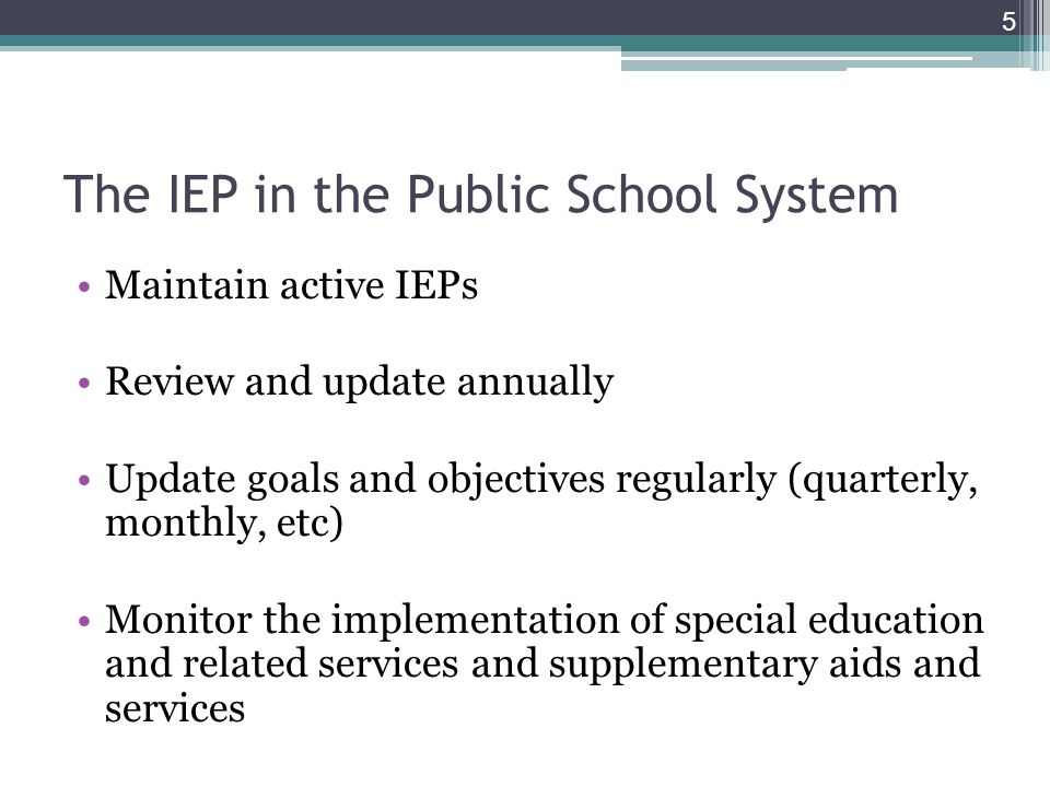 The IEP in the Public School System Maintain active IEPs Review and update annually Update goals and objectives regularly (quarterly, monthly, etc) Mo