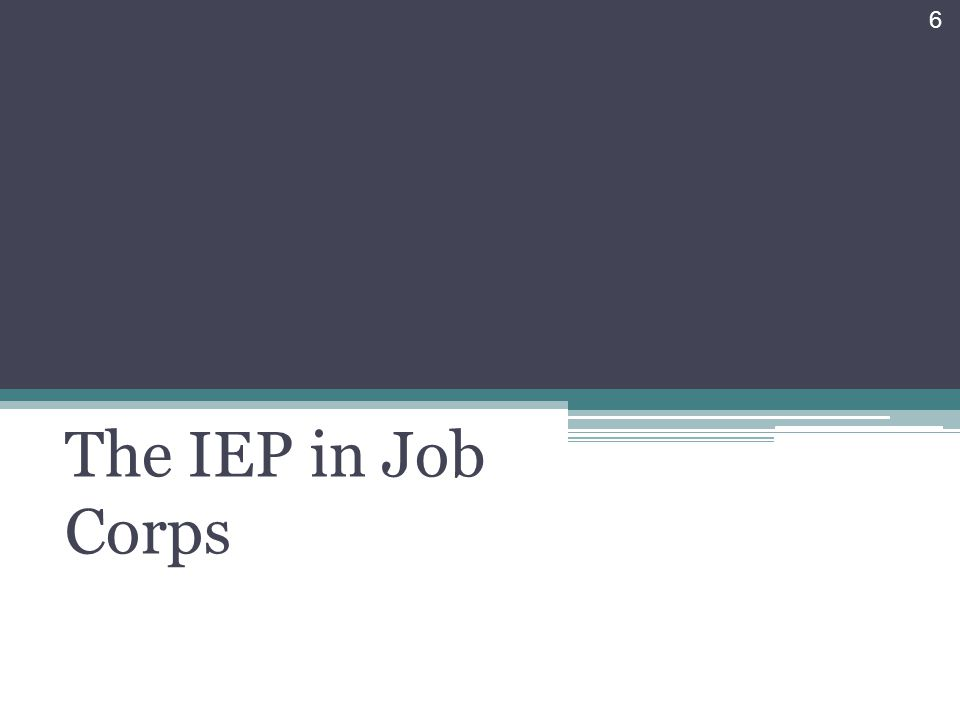 The IEP in Job Corps 6
