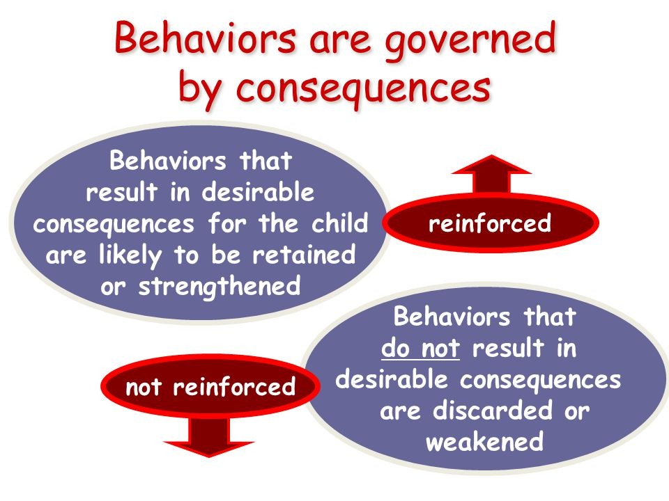 Behaviors are governed by consequences Behaviors that result in desirable consequences for the child are likely to be retained or strengthened reinforced Behaviors that do not result in desirable consequences are discarded or weakened not reinforced