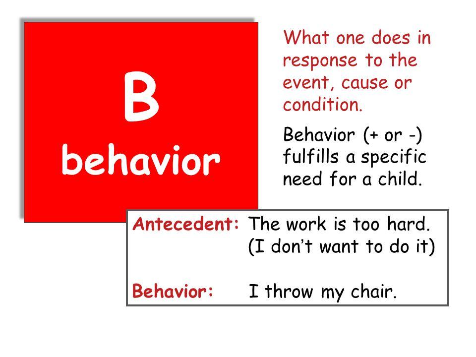 B behavior B behavior Antecedent: The work is too hard.