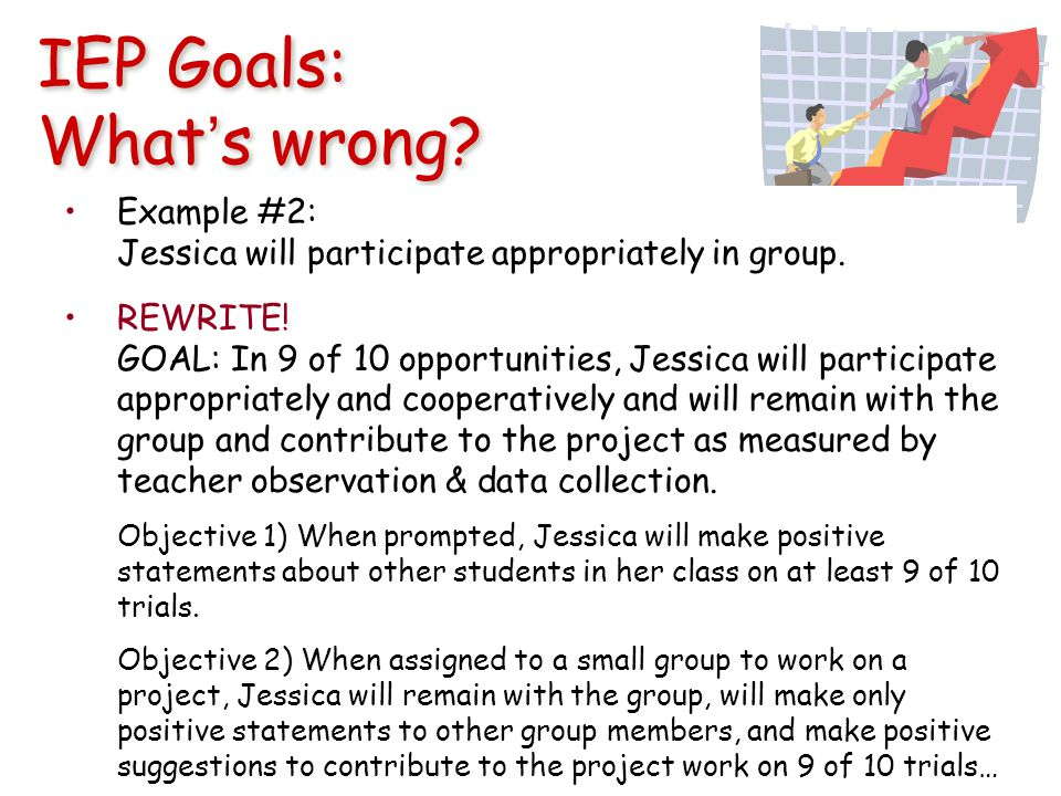 IEP Goals: What's wrong. Example #2: Jessica will participate appropriately in group.