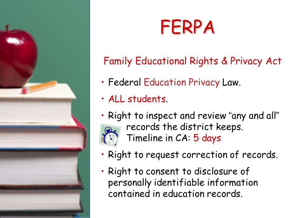 FERPA Family Educational Rights & Privacy Act Federal Education Privacy Law.