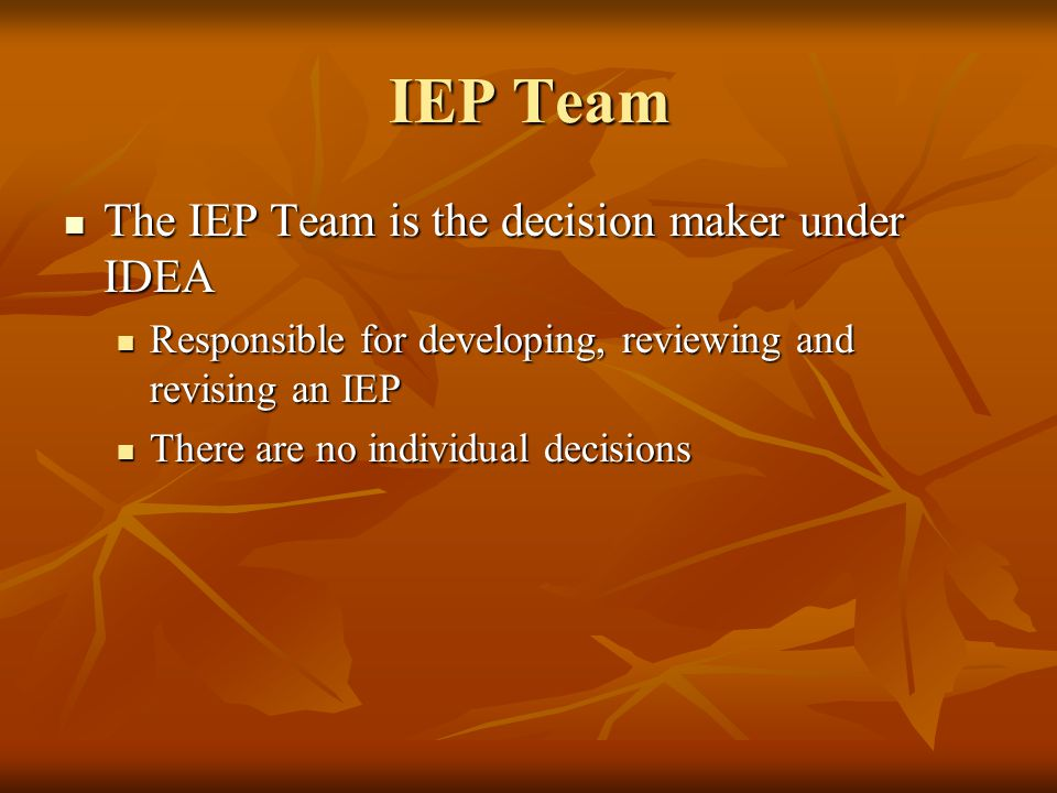 IEP Team The IEP Team is the decision maker under IDEA The IEP Team is the decision maker under IDEA Responsible for developing, reviewing and revisin