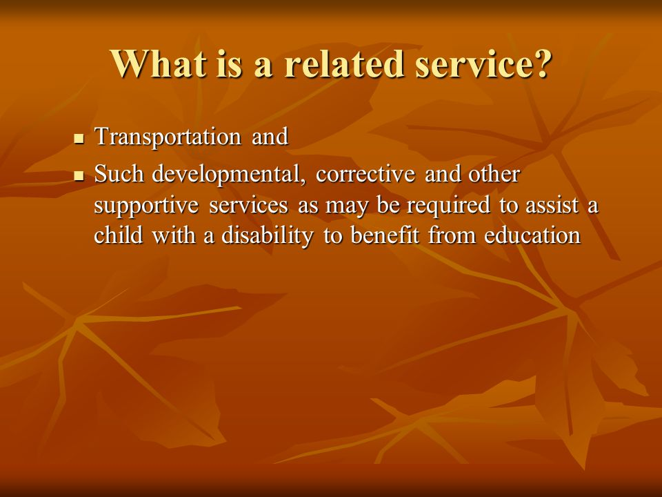 Transportation and Transportation and Such developmental, corrective and other supportive services as may be required to assist a child with a disabil