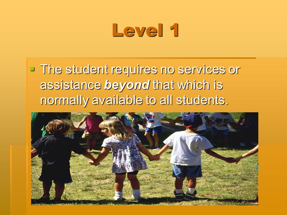 Level 1  The student requires no services or assistance beyond that which is normally available to all students.