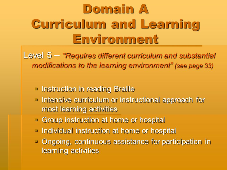 Domain B Social / Emotional Behavior Level 1 (see page 41)  The student requires no services or assistance beyond that which is normally available to all students.