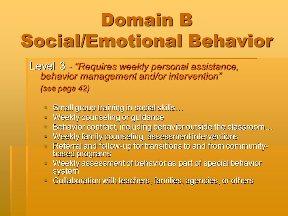 "Domain B Social/Emotional Behavior Level 3 - ""Requires weekly personal assistance, behavior management and/or intervention"" (see page 42) (see page 42"