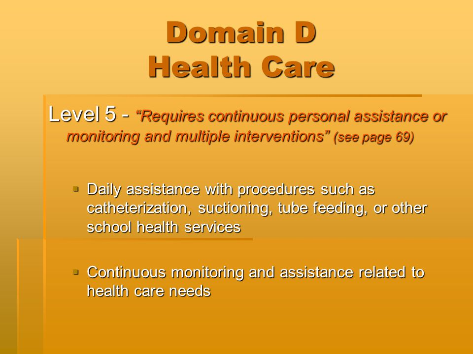 "Domain D Health Care Level 5 - ""Requires continuous personal assistance or monitoring and multiple interventions"" (see page 69)  Daily assistance wit"