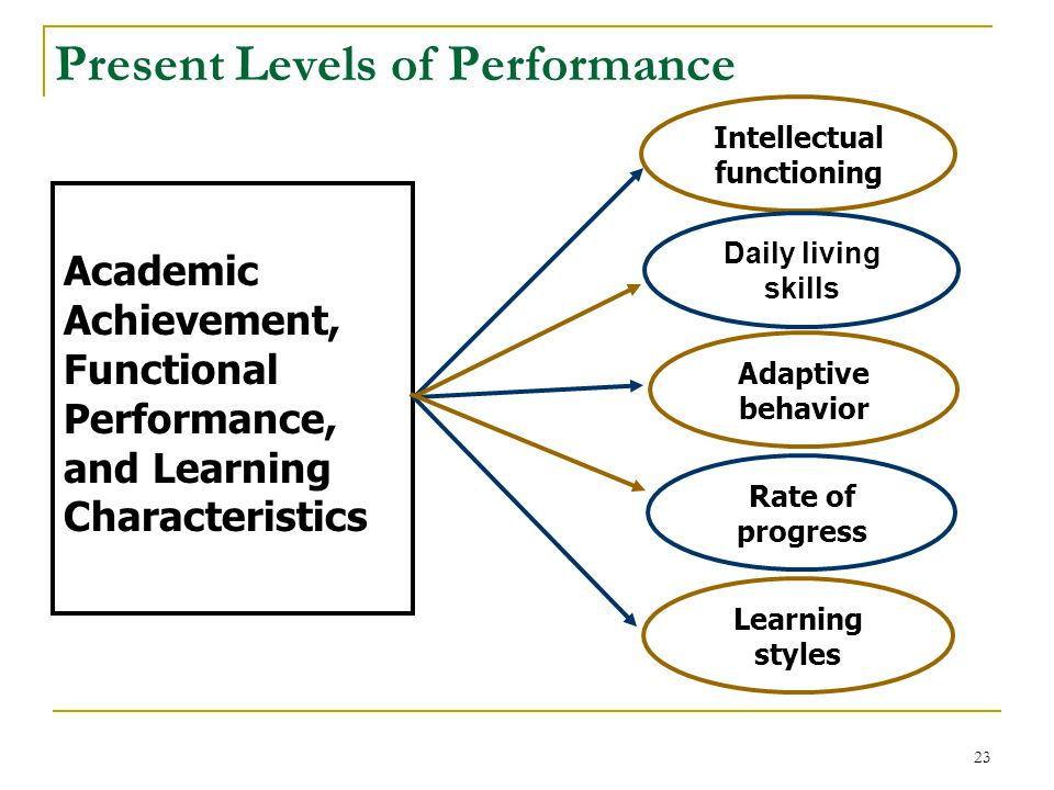 Academic Achievement, Functional Performance, and Learning Characteristics Intellectual functioning Daily living skills Rate of progress Adaptive behavior Learning styles Present Levels of Performance 23