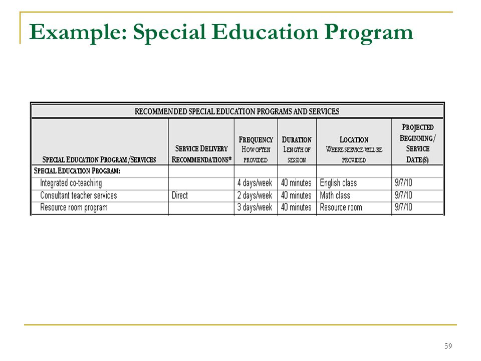 Example: Special Education Program 59
