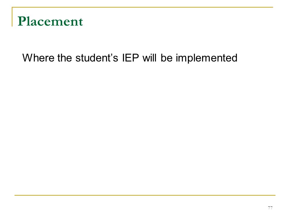 Placement Where the student's IEP will be implemented 77