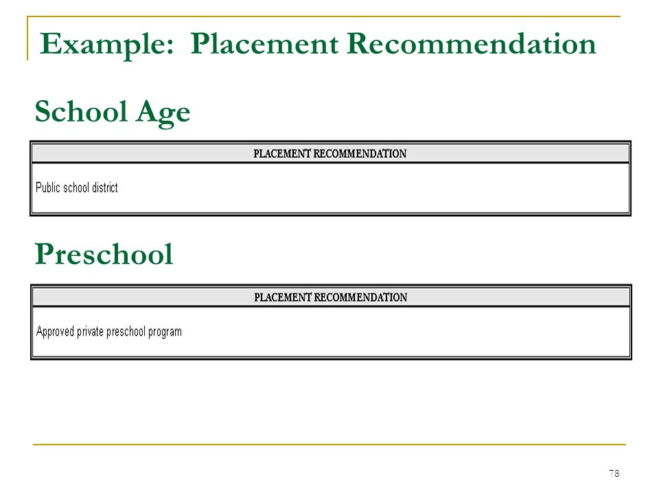 Example: Placement Recommendation School Age Preschool 78