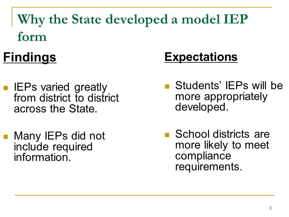 Why the State developed a model IEP form Findings IEPs varied greatly from district to district across the State.