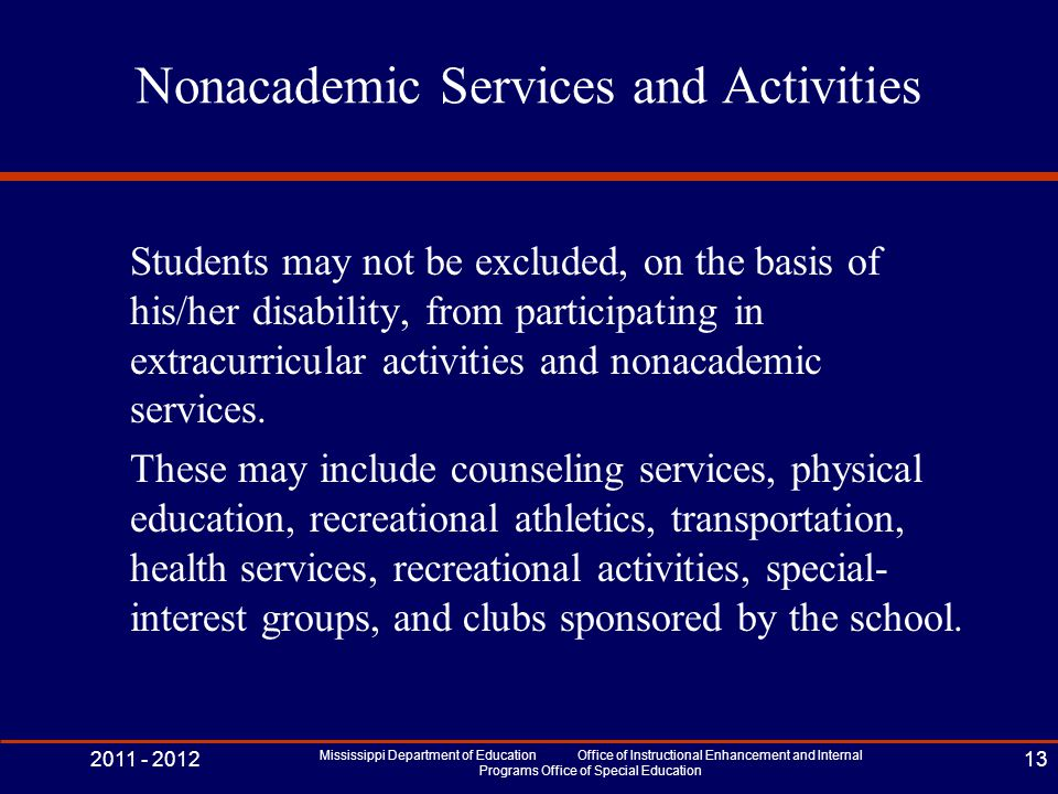Nonacademic Services and Activities Students may not be excluded, on the basis of his/her disability, from participating in extracurricular activities