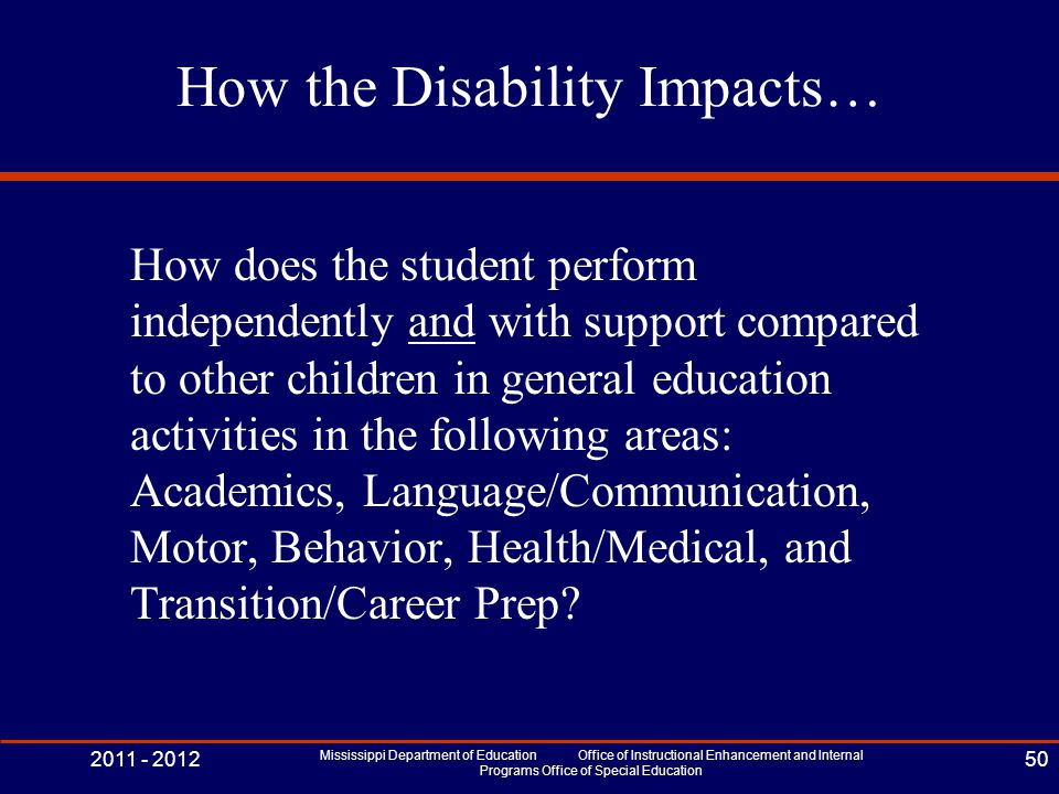 How the Disability Impacts… How does the student perform independently and with support compared to other children in general education activities in