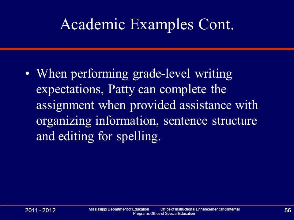Academic Examples Cont.