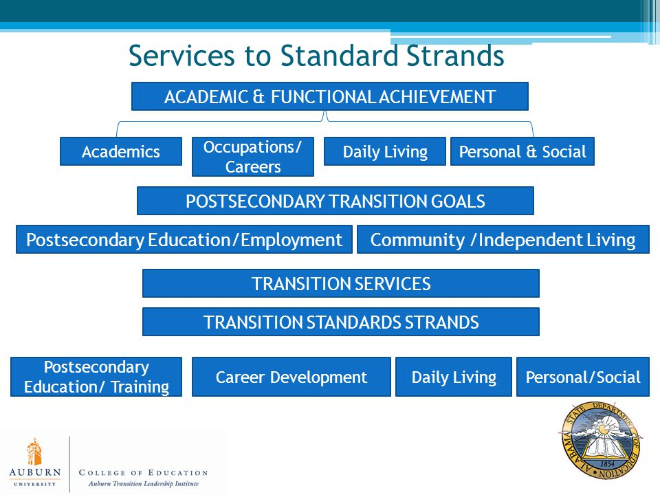 Services to Standard Strands Academics Occupations/ Careers Personal & SocialDaily Living ACADEMIC & FUNCTIONAL ACHIEVEMENT POSTSECONDARY TRANSITION GOALS Postsecondary Education/EmploymentCommunity /Independent Living TRANSITION SERVICES TRANSITION STANDARDS STRANDS Personal/SocialDaily LivingCareer Development Postsecondary Education/ Training
