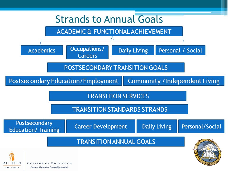 Strands to Annual Goals Academics Occupations/ Careers Personal / SocialDaily Living ACADEMIC & FUNCTIONAL ACHIEVEMENT POSTSECONDARY TRANSITION GOALS Postsecondary Education/EmploymentCommunity /Independent Living TRANSITION SERVICES TRANSITION STANDARDS STRANDS Personal/SocialDaily LivingCareer Development Postsecondary Education/ Training TRANSITION ANNUAL GOALS