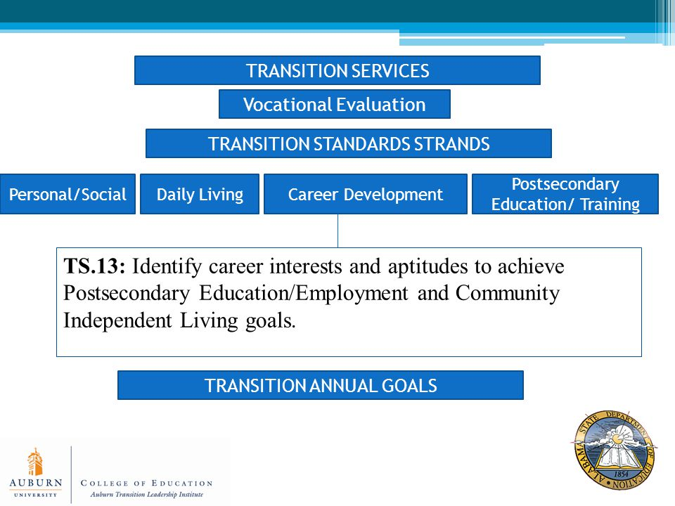 TRANSITION STANDARDS STRANDS Personal/SocialDaily LivingCareer Development Postsecondary Education/ Training TRANSITION ANNUAL GOALS TS.13: Identify career interests and aptitudes to achieve Postsecondary Education/Employment and Community Independent Living goals.