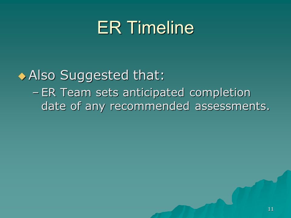 11 ER Timeline  Also Suggested that: –ER Team sets anticipated completion date of any recommended assessments.