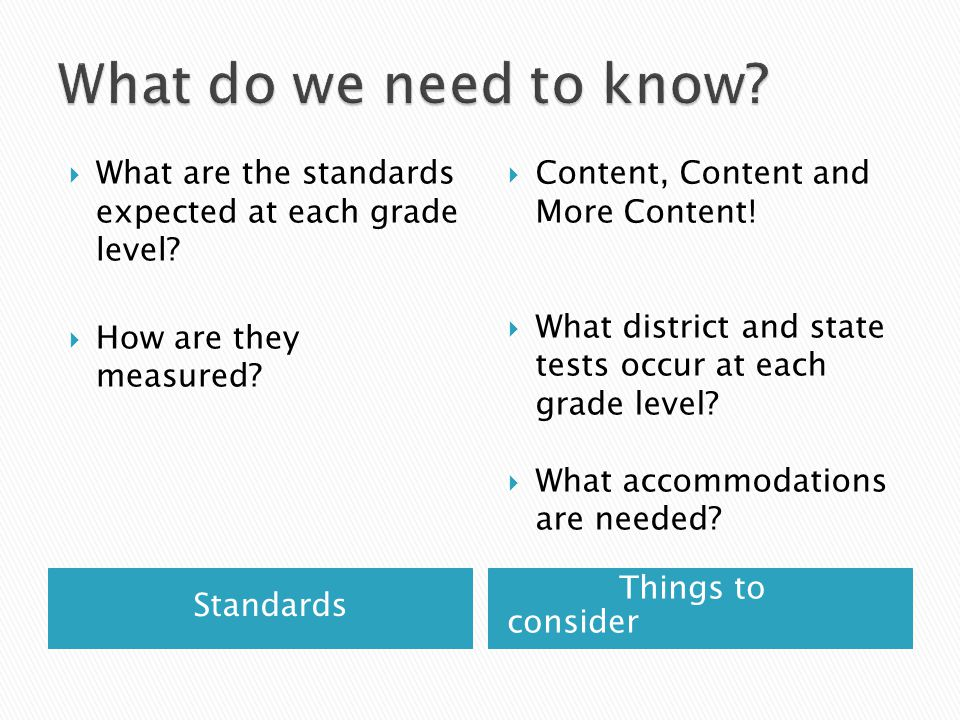 Standards Things to consider  What are the standards expected at each grade level.