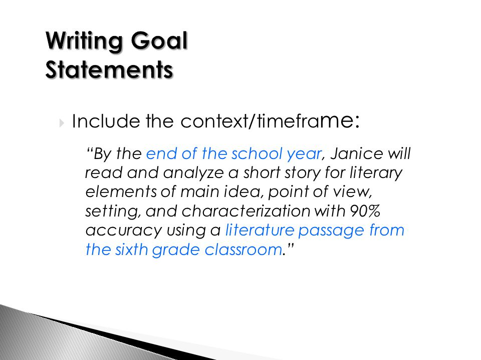  Include the context/timefra me: By the end of the school year, Janice will read and analyze a short story for literary elements of main idea, point of view, setting, and characterization with 90% accuracy using a literature passage from the sixth grade classroom.