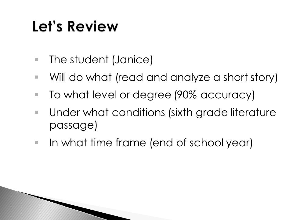  The student (Janice)  Will do what (read and analyze a short story)  To what level or degree (90% accuracy)  Under what conditions (sixth grade literature passage)  In what time frame (end of school year)