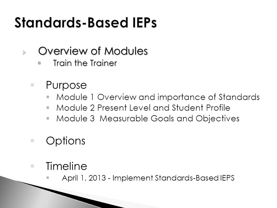Module 1: IEP Overview – A Plan for Guiding Instruction and Service Provision